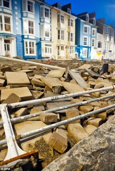 The damage on the promenade in Aberystwyth, West Wales Aberystwyth, Devon And Cornwall, Cymru, Storms, Welsh, Britain, Beautiful Places, Coast