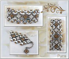 Schéma bracelet avec Arcos® et Minos ® par Puca® expliqué en français par photo pas à pas . Schéma facile .