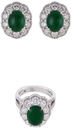LC Collection Diamond jade 18k white gold ring and earrings set. Jade jewelry. I'm an affiliate marketer. When you click on a link or buy from the retailer, I earn a commission.