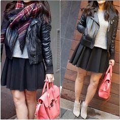 Quynh Tran - Zara Blanket Scarf, Barney's Originals Leather Jacket, 3.1 Phillip Lim Regular Pashli, Finders Keepers The Label Tiny Dancer, Matiko Darcey Boots, Target Sweater - Rainy Days