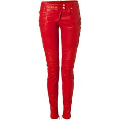Genuine Leather Womens Quilted Skinny Leg Pants Designer Inspired ($200) ❤ liked on Polyvore featuring pants, leather, star pants, red pants, cuff pants, leather zipper pants and skinny pants