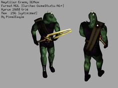 Reptilian Enemy game character – animated rigged free 3D model ready for CG projects. Available formats: 3D Studio Max (.max), Other