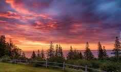 Kanada, Nowa Szkocja, Park Prowincjonalny Blomidon, Zatoka Minas Basin, Wschód Słońca, Ogrodzenie, Morze