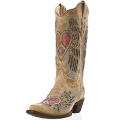 I must get married in these!!!!! Corral Antique Saddle Blue Jean Wing and Heart Cowboy Boots|