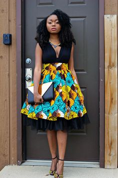 This is a high waist gather skirt made out of ankara african print fabric and a tulle fabric. African Print Skirt, African Print Dresses, African Fashion Dresses, African Fabric, African Dress, African Prints, Ghanaian Fashion, Nigerian Fashion, Fashion Outfits