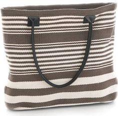 Dash & Albert Rugby Stripe Charcoal Brown Tote Bag @ J Brulee Home