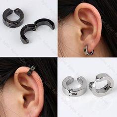 Pair Mens Stainless Steel Ear Stud Cuff Hoop Non-Piercing Clip-on Earrings Punk #Unbranded #Hoop