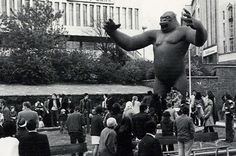 King Kong statue at the Bullring, Birmingham, from the early 70s. He still exists and efforts are being made to get him back to Brum.