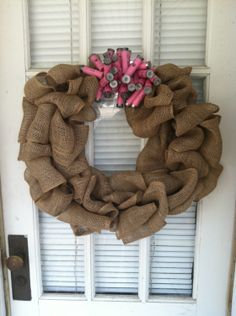 Burlap Wreath with Pink Shotgun Shells by TheNethouse on Etsy, $35.00