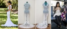 Crochet Wedding Dress she made for herself during morning commute, what a beautiful gown plus a family heirloom ♥