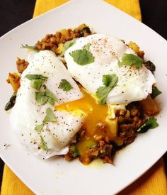 Samosa Breakfast Hash Recipe: eggs; ground chicken; coconut oil or bacon fat; ground red chili powder; cumin; cinnamon; ground ginger; curry powder; onion; garlic; green chiles; rutabaga; fresh spinach; cilantro