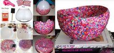 diy ideas balloon bowl DIY Yarn Bowls craf4