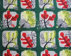 Vintage Mid Century Pinecone Barkcloth by Niesz Vintage Fabric, via Flickr