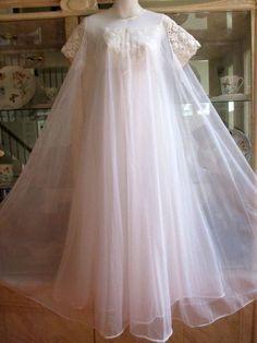 vandemere vintage pink peignoir robe gown set large made in usa