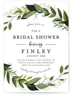 Vines Of Green Bridal Shower Invitations