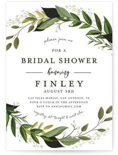 Vines Of Green Bridal Shower Invitations