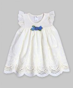 Love this Ivory & Teal Eyelet Angel-Sleeve Dress by Truffles Ruffles on #zulily! #zulilyfinds