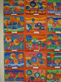 One of the best web sites for elementary art project ideas by grade level and with photos of student work on the bulletin boards. Hundertwasser, Square One Art, Teaching Art, Teaching Ideas, Art Plastique, Kindergarten Art Projects, Art Education Projects, Spring Art Projects, Spring Crafts