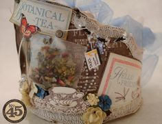 Denise Hahn used tea sachets on her Botanical Tea crown, so clever and gorgeous #graphic45