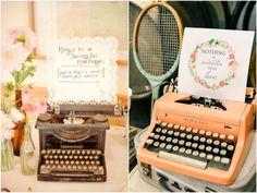 Máquina de Escrever na Decoração de Casamento Rústico, Romântico e Vintage    Typewriter in Rustic Weddings Decor