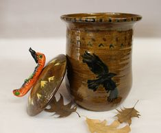 High Mountain Crow with Canoe Cookie Jar, Canister | Wild Crow Farm