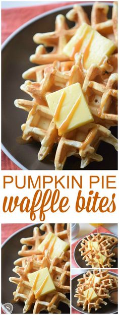 Pumpkin Pie Waffle Bites! Super FUN and Easy Waffle Recipe for Fall and Winter! Holidays and Thanksgiving Breakfast Recipe ideas!