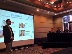 David Berkowitz, CMO of @MRY, chats with panelists from OpiaTalk, LinkedIn, and @UMUCPins at the Baltimore Digital Summit | September 30, 2014