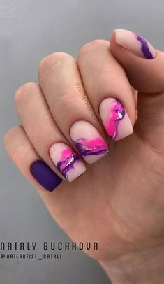 Now there are a lot of little fairies like short square nails, but do not know how to finish manicure maintenance, so how to maintain the daily after manicure? Purple Nail Designs, Short Nail Designs, Colorful Nail Designs, Gel Nail Designs, Colorful Nails, Disney Nail Designs, Summer Acrylic Nails, Best Acrylic Nails, Acrylic Nail Designs For Summer