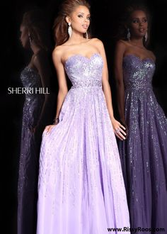 This Lilac Sequin Strapless Prom Dress is so Lovely and Elegant - Sherri Hill 8437 Lilac Evening Gown - RissyRoos.com