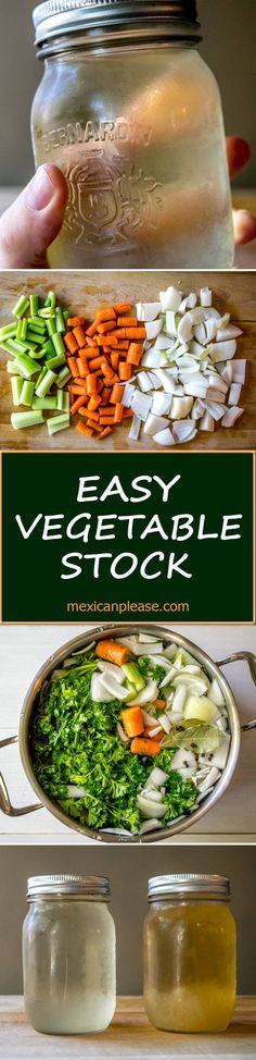 Vegetable stock can rival even the finest meat-based stocks and is ridiculously easy to make. Your new secret weapon! Includes tips for a roasted version. Best Dinner Recipes, Side Recipes, New Recipes, Cooking Recipes, Favorite Recipes, Vegetable Stock, Vegetable Recipes, Vegetarian Recipes, Going Vegan