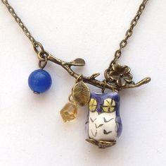 Silver Leaf Agate Quartz Porcelain Owl Necklace by gemandmetal