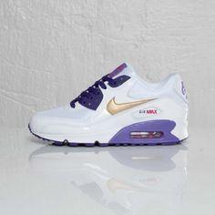 Nike Air Max 90 GS – White / Metallic Gold – Court Purple | KicksOnFire