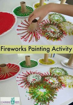 Use the cardboard from inside of a paper towel roll to paint fireworks.