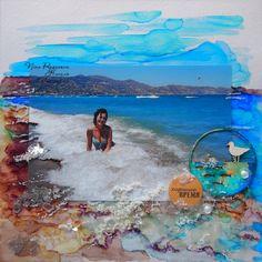 Скрапоголики: В синем море, в белой пене... Страничка с алкогольными чернилами МК