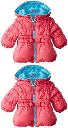 Pink Platinum Baby-Girls' Tonal Heart Puffer, Fuchsia, 3-6 Months
