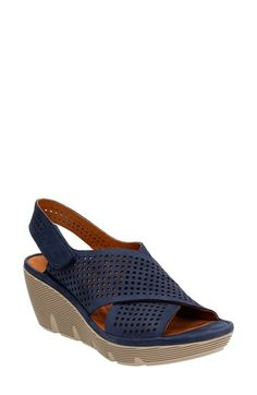 69ace6dfdb10 Clarks®  Clarene Award  Wedge Sandal (Women) available at  Nordstrom Navy