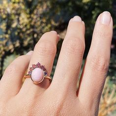 Pink Opal Right Hand Ring Right Hand Rings, Pink Opal, Rose Cut Diamond, Ring Necklace, Headdress, Sunglasses Accessories, Pretty In Pink, Sapphire, Gemstone Rings