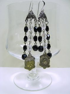 Beautiful Upcycled Crystal & Black Glass by VintageDelightsToo, $30.00