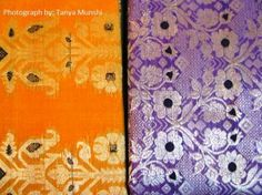 orange and purple saris from tant ghar
