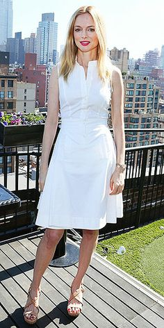 Heather Graham in Philosophy at the Women's Film Brunch in N. Blue Midi Dress, Blue Dresses, White Dress, Red Heads Women, Philosophy Dresses, Milwaukee, Heather Graham, Wisconsin, Autumn Clothes