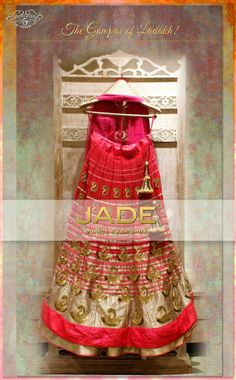 JADE's Stunning Lehenga Ensemble inspired from the 'Gompas of Ladakh' for the Cheery  Colourful Bride! #jadebyMK #jade_byMK #jade #cherry #gold #lehenga #stylish #weaves