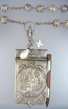 Religious FRENCH Antique LOURDES Art Nouveau Repousse Aide MEMOIRE Carnet de BAL Souvenir NOTEBOOK Pendant NECKLACE Rosary Beads STERLING Silver CROSS-n-ndcdb