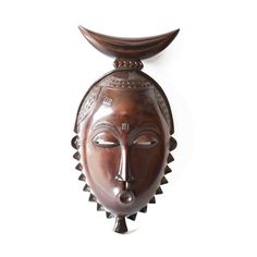 Source Mask Baule With Crescent Moin Headgear by House of Avana Sculpture Painting, African Masks, West Africa, Headgear, Unique Colors, Scandinavian, Sculptures, Clock, Etsy
