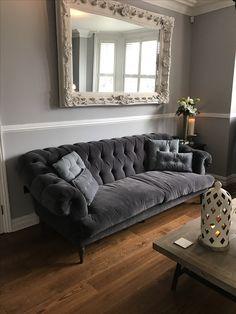 Grey Interior Design Tweed Tetrad Parquet Coffee Table Ornate Large Mirror Loaf Bagsie Sofa