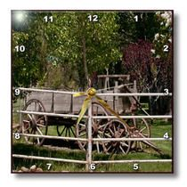 3dRose - Jos Fauxtographee Realistic - An Old Wagon Behind a Fence with Tree and Green Lush Grass in a Yard in Central, Utah