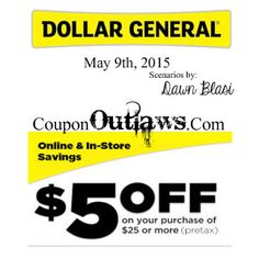 Dollar General $5/$25 Scenario!! Can't miss these!! - http://www.couponoutlaws.com/?p=1344
