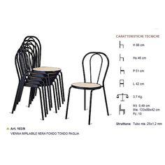 Sedia thonet modello Vienna impilabili in metallo e seduta in finta paglia da esterno, economiche e moderne per il giardino, terrazzo e veranda. Ideali per casa, bar, pub, ristorante, pizzeria, pasticceria al miglior rapporto prezzo-qualità.