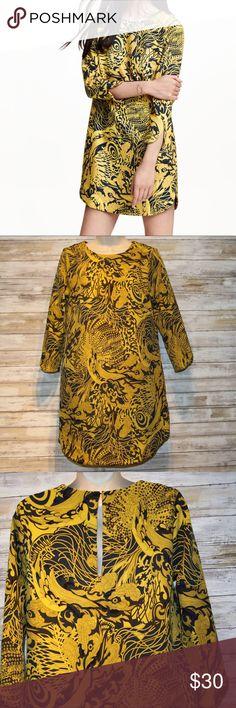 H&M gold/navy 3/4 sleeve shift dress sz 6 H&M gold/navy shift dress  sz 6  96% polyester 5% elastane. Excellent Condition H&M Dresses