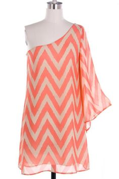 One Shoulder Coral and Tan Chevron chiffon dress...love it!