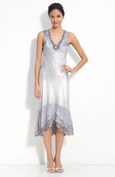 A Line V-neck Tea-length Charmeuse Chiffon Mother of the Bride Dress